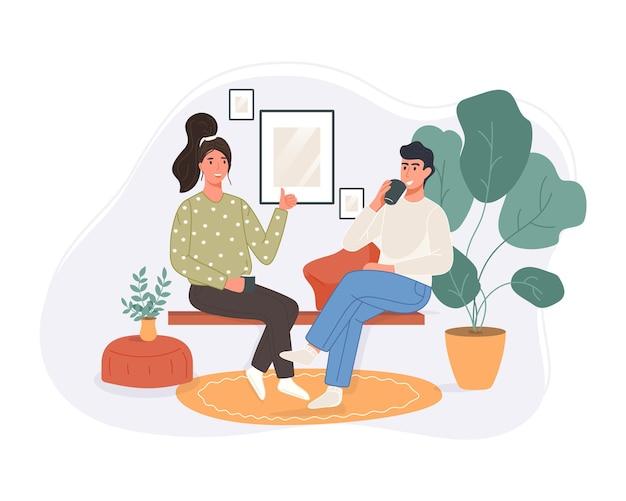 Счастливые две женщины сидят на диване, пьют кофе и разговаривают дома. улыбающийся персонаж проводит время вместе.
