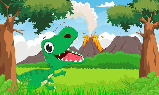 Happy tyrannosaurus cartoon with the prehistoric background