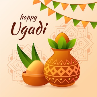 Happy ugadi celebration flat design