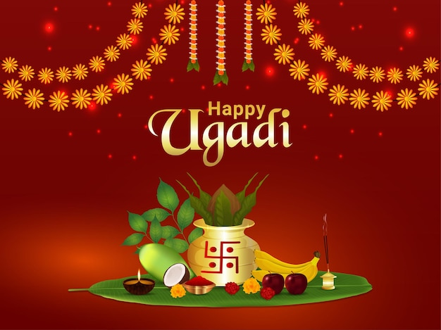 Happy ugadi celebration greeting card with kalash