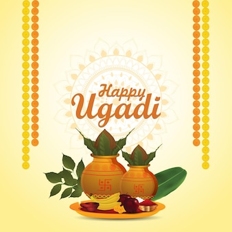 Happy ugadi celebration greeting card