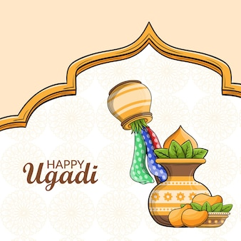 Happy ugadi concept design Premium Vector