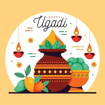 Happy ugadi flat design