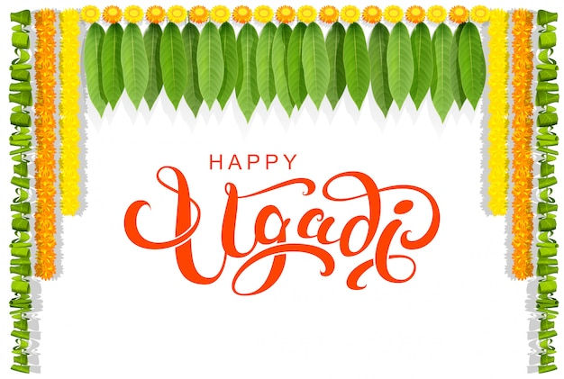 Happy ugadi floral leaf garland text greeting card