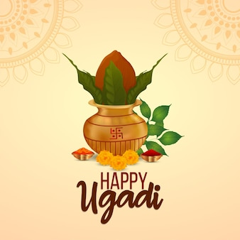 Happy ugadi greeting card with creative kalash