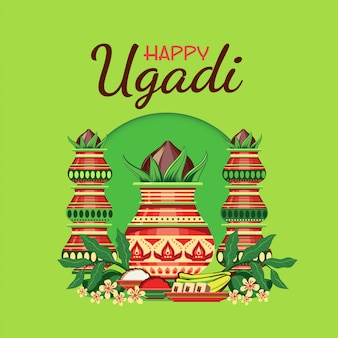 Happy ugadi greeting card with decorated kalash