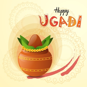 Happy ugadi and gudi padwa hindu new year greeting card holiday pot with coconut