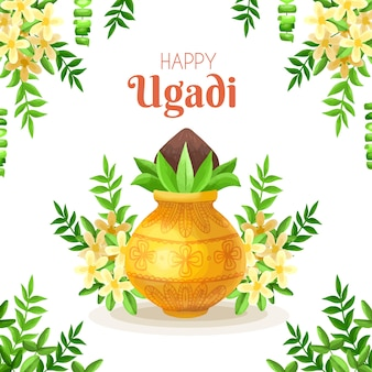 Happy ugadi hand drawn