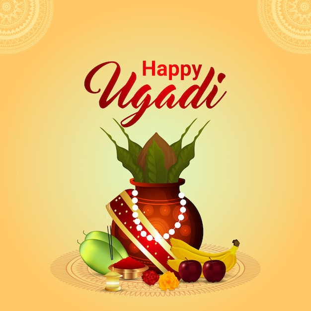 Happy ugadi holiday festival  greeting card