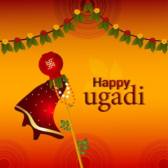 Happy ugadi illustration greeting card