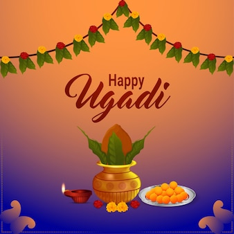 Happy ugadi illustration with beautiful kalash with sweet and diya