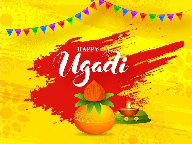 Happy ugadi illustration with worship pot (kalash), banana leaf, illuminated oil lamp and red brush stroke effect on yellow