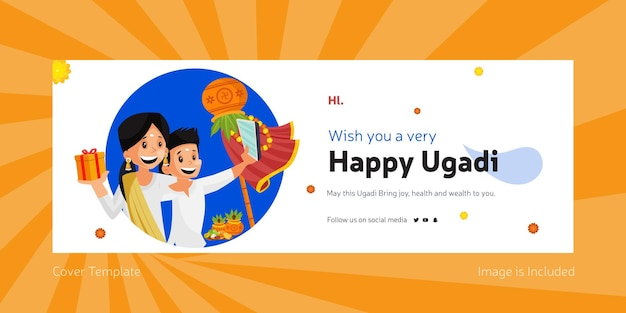Happy ugadi indian festival facebook cover template
