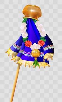 Happy ugadi indian holiday. gudi padwa pot on stick and flower garland.