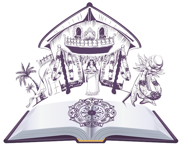 Счастливый индийский праздник угади открытая книга иллюстрации.