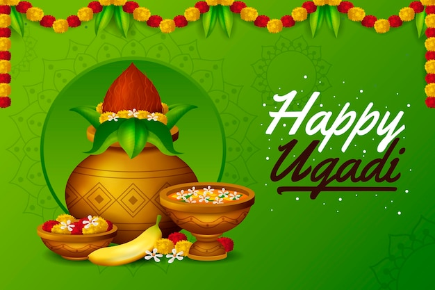 Happy ugadi realistic design