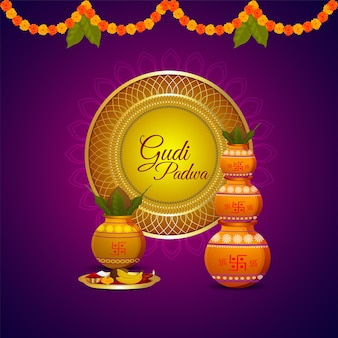 Happy ugadi. template greeting card traditional festival