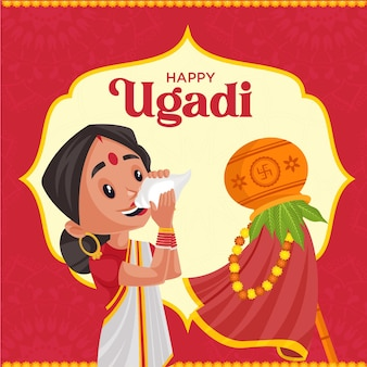 Happy ugadi traditional festival banner design