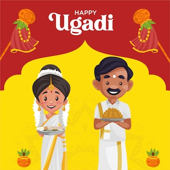 Happy ugadi  wishes greeting card traditional festival banner design