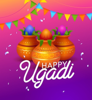 Happy ugandi indian holiday typography banner. first day of the hindu lunisolar calendar. important celebration. kolamulus is drawing colorful patterns. flat cartoon vector illustration