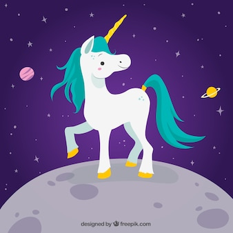 Happy unicorn background on the moon