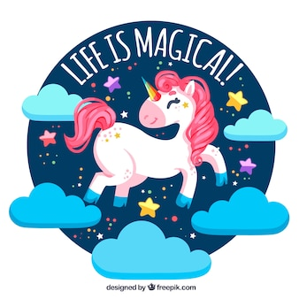 Happy unicorn background with clouds and text  life is magic