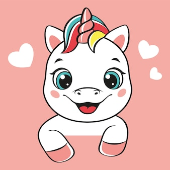 Happy unicorn head on pink background