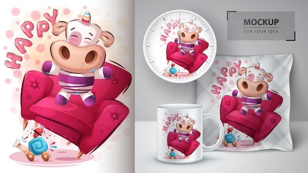 Happy unicorn poster and merchandising