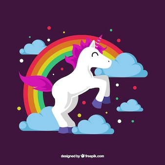 Happy unicorn and rainbow with flat design