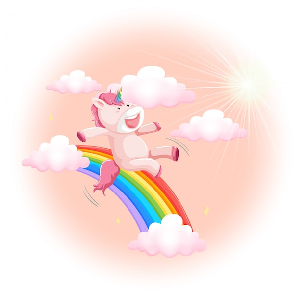 Happy unicorn on sky