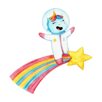 Happy unicorn spaceman riding a comet. funny magic animal in spase suit and helmet fly on a star. children illustration isolated  .