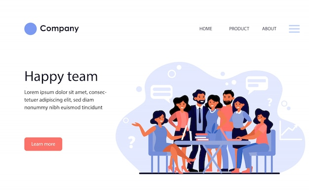 Happy united business team. website template or landing page