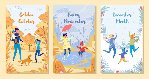 Happy united family whatever autumn weather card set