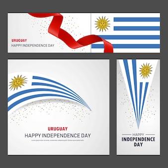 Счастливый уругвайский день независимости баннер и фоновый набор