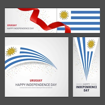 Happy uruguay independence day banner and background set