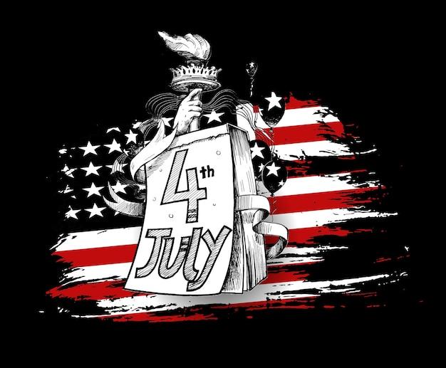 ハッピーusa独立記念日7月4日。グリーティングカードとポスターのデザイン-手描きスケッチベクトルイラスト。
