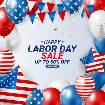 해피 미국 노동절 판매 포스터 배경입니다. 벡터 일러스트 레이 션
