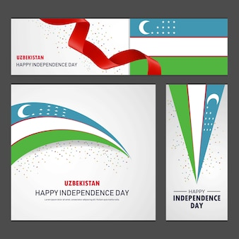 Happy uzbekistan independence day banner and background set