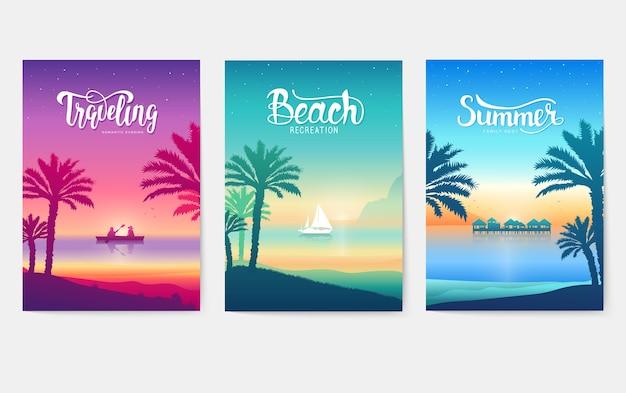 Счастливый пейзажный рай отдыха на тропическом острове. силуэт пальмы на синем море
