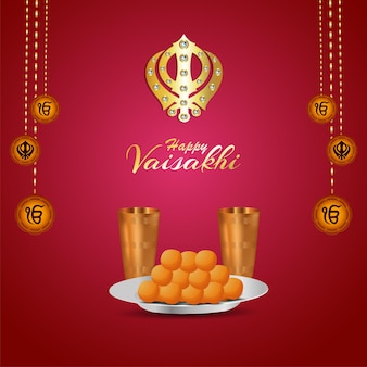 Happy vaisakhi creative design with illustration and background