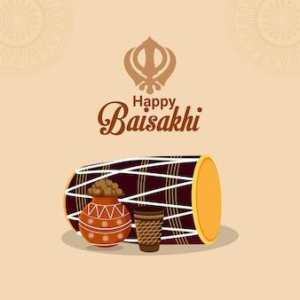 Happy vaisakhi creative illustration golden temple and drum