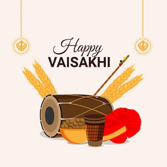 Happy vaisakhi greeting card and background