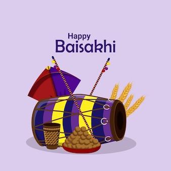 Happy vaisakhi greeting card or banner