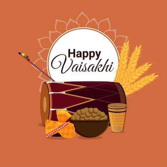 Happy vaisakhi greeting card with illustration