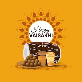 Счастливый сикхский фестиваль вайсакхи фон с творческой иллюстрацией