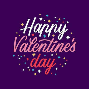 Happy valentiens day lettering concept