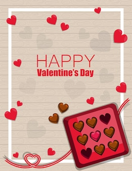Happy valentin's day greeting with chocolate box   top view on wood pattern