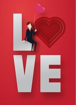 똑똑한 사람과 텍스트 벡터 일러스트와 함께 해피 발렌타인 데이 3d 레이어 종이 아트 스타일