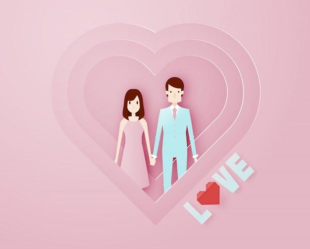 Счастливый день святого валентина 3d слой бумаги в стиле арт с умным парнем и текст векторные иллюстрации