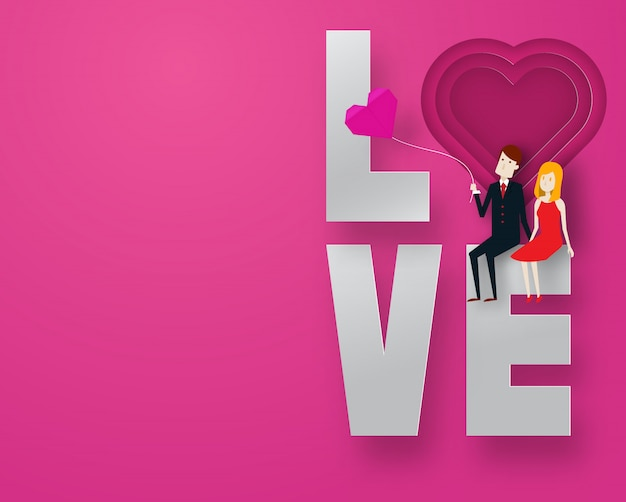 Happy valentine day 3d layer paper art style with smart guy and cute girl and text vector illustration